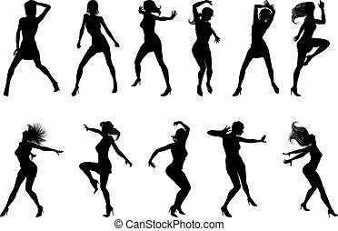 Dance Dancer Silhouettes - A set of woman dancers dancing in...