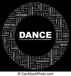 DANCE. Word cloud concept illustration. Wordcloud collage.