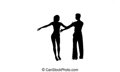 Dance element from rumba, silhouette couple. White background, slow motion