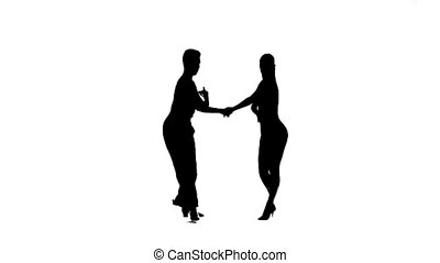 Dance element from salsa, silhouette couple. White background, slow motion