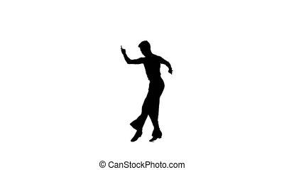 Dance element from the ballroom-sport program, silhouette on white background