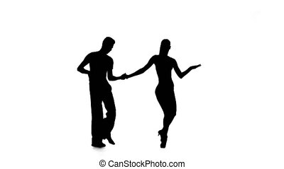 Dance element from the latino, silhouette couple ballroom. White background