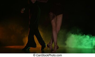 Dance element from the rumba, pair of champions. Color background