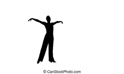 Dance element from the rumba program, silhouette on white background