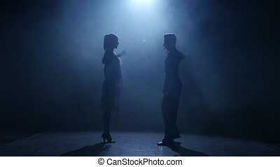 Dance element from the rumba, silhouette couple ballroom....