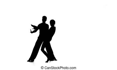 Dance element from the rumba, silhouette couple ballroom. White background