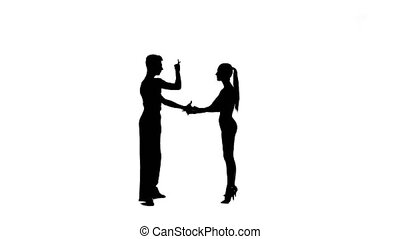 Dance element from the salsa, silhouette couple ballroom. White background