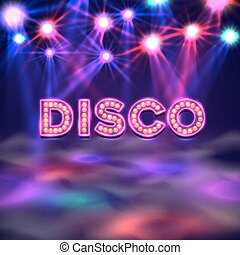 Dance floor banner, disco text signboard.