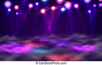 Dance floor banner, Light and smoke on stage.