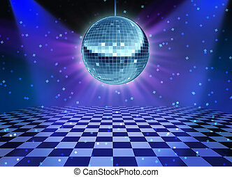 Dance floor disco night with a mirror ball symbol of fun and dancing party in a nightclub or dance club with glowing stage lights and wall reflexions and checkered floor.