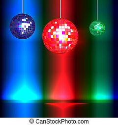 Dance floor with vintage style disco balls and lights with...