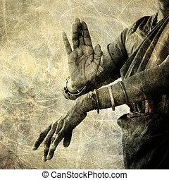 The hands of an Indian dancer.