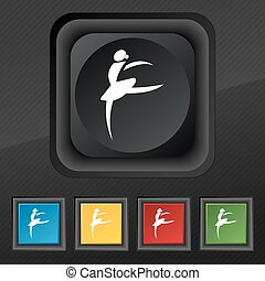 Dance girl ballet, ballerina icon symbol. Set of five colorful, stylish buttons on black texture for your design. Vector
