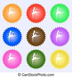 Dance girl ballet, ballerina icon sign. Big set of colorful, diverse, high-quality buttons. Vector
