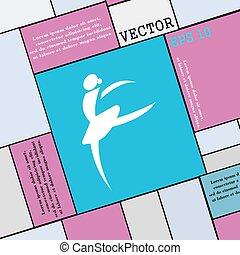 Dance girl ballet, ballerina icon sign. Modern flat style for your design. Vector