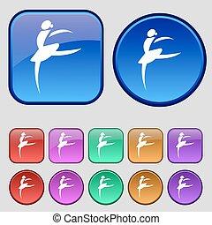 Dance girl ballet, ballerina icon sign. A set of twelve vintage buttons for your design. Vector