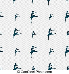 Dance girl ballet, ballerina icon sign. Seamless pattern with geometric texture. Vector