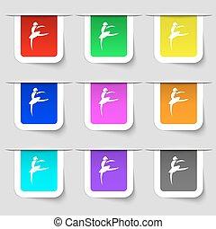 Dance girl ballet, ballerina icon sign. Set of multicolored modern labels for your design. Vector