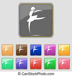 Dance girl ballet, ballerina icon sign. Set with eleven colored buttons for your site. Vector