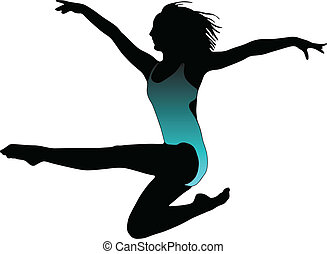 Dance girl ballet collection silhouettes - vector