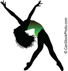 Dance girl ballet silhouettes - vector eps