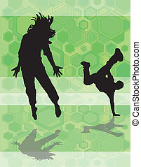 dance hex green - two male dancers on a green hexagon...