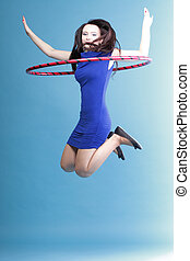Dance hoop Beautiful woman in blue - Beautiful woman in a...