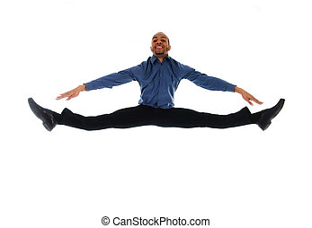 young attractive male dancer doing the splits