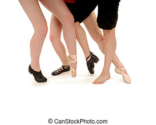 Legs of Dancers with various shoes, tap, ghillies, ballet, pointe, clogs, lyrical, slippers,