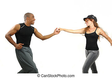 Dance lesson with latino instructor - Portrait of young...