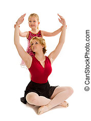 Dance Mom Ballet Student with Child Teaching Lesson