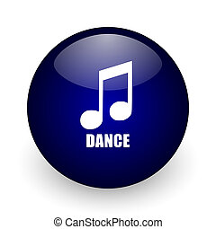 Dance music blue glossy ball web icon on white background. Round 3d render button.