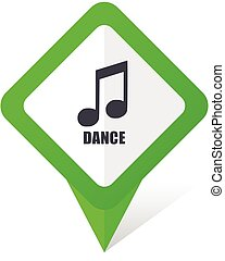Dance music green square pointer web and mobile phone vector icon in eps 10 on white background with shadow