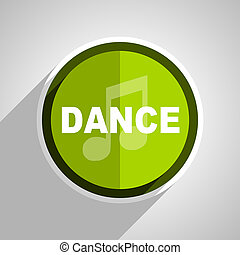 dance music icon, green circle flat design internet button, web and mobile app illustration