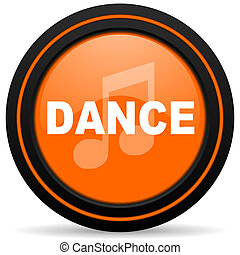 dance music orange glossy web icon on white background
