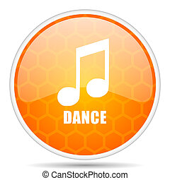 Dance music web icon. Round orange glossy internet button for webdesign.