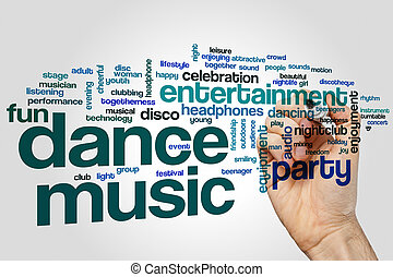 Dance music word cloud