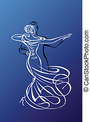 Prom or ballroom dance night illustration - calligraphic outline on a blue background which is a separate easy changeable layer