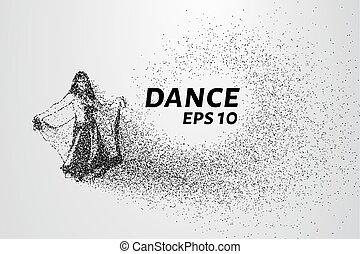Dance of the particles. Girl in a beautiful dress dancing.