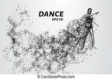 Dance of the particles. The girl warming up before dancing.