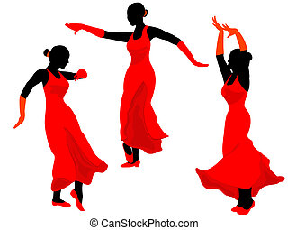 Spanish girls - Dance of the Spanish girls - it is black the...