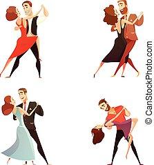 Dance Pair Retro Cartoon Set - Dance pair retro cartoon set ...