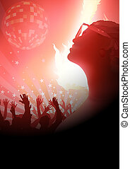 Dance Party And Red Light With Flame Effect, Dancing Crowd -...