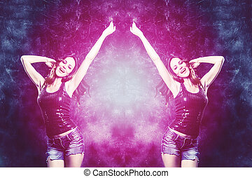 dance party - dancing woman in purple and blue colors studio...