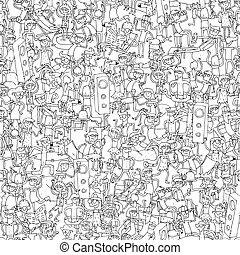 Dance party seamless pattern with doodled youngsters having...