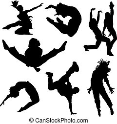 A collection of people dancing in silhouette