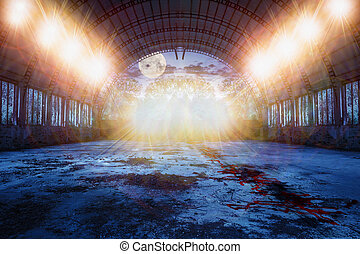 dance place in abandoned hangar at night - dance place for...