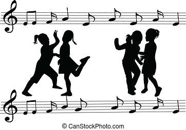 dance-school, meiden, silhouettes