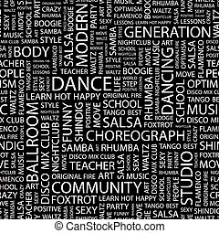 DANCE. Seamless pattern. Word cloud illustration.