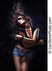 dance - sexy woman dancing, dark background